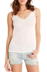 Michael Stars Women's Lace Trim Tank White