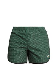 Robinson Les Bains Cambridge Long Geometric Print Swim Shorts Green