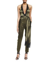 J. Mendel Metallic Charmeuse Halter Jumpsuit Gold Black