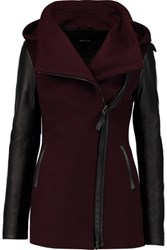 Mackage Faux Leather Paneled Wool Blend Hooded Coat Burgundy
