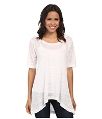 Nally And Millie Burnout Half Long Sleeve Tunic White Women's Blouse