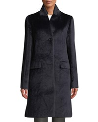 Cinzia Rocca Alpaca Blend Flap Pocket Coat Blue