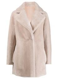 Blancha Faux Fur Single Breasted Coat Pink