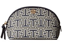 Tory Burch Parker Geo T Cosmetic Case Navy Ivory Print Cosmetic Case