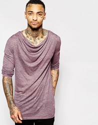 Asos Longline Long Sleeve T Shirt With Drape Neck Burgandy