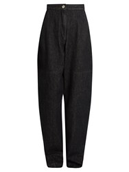Isabel Marant Elwood High Rise Peg Leg Denim Trousers Black