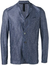Harris Wharf London Patch Pockets Striped Blazer Men Linen Flax 50 Blue
