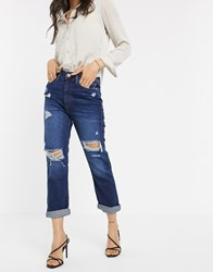 River Island Distressed Mom Jeans In Dark Wash Blue