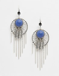 Asos Semi Precious Feather Dreamcatcher Earrings Blue