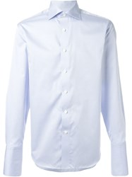 Canali Cuffed Classic Button Down Shirt Blue