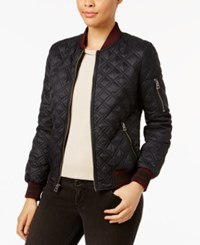 Lucky Brand Quilted Bomber Jacket Navy