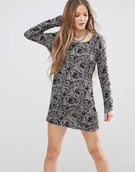 Qed London Long Sleeve Tunic Top Black Grey