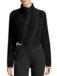 Elie Tahari Sandy Wool And Cashmere Cropped Sweater Black