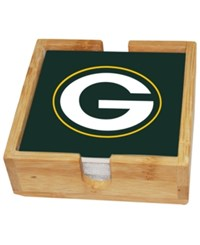 Memory Company Green Bay Packers 4 Pack Square Coaster With Caddy Set