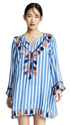 Bindya Striped Tunic With Tassels Blue Stripes