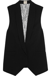 Haute Hippie Lace Paneled Crepe Vest Black