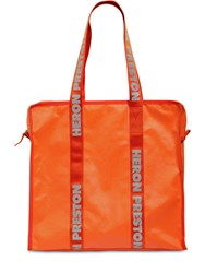 Heron Preston Tote Bag W Logo Handles Orange