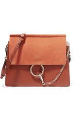 Chloe Faye Medium Leather And Suede Shoulder Bag Tan