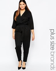 Pink Clove Tailored Jumpsuit Tie Waist Detail Black