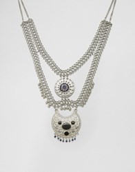 Missguided Festival Tiered Blue Stone Necklace Silver