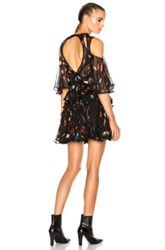 Alexander Mcqueen Cut Out Shoulder Dress In Black Floral Animal Print Abstract Black Floral Animal Print Abstract