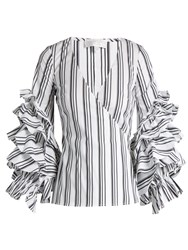 Caroline Constas Athena Striped Ruffled Sleeve Blouse Black White