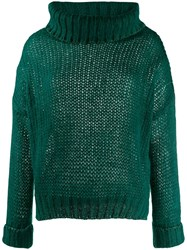 Twin Set Oversized Turtleneck Jumper 00521 Dark Green