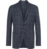 Boglioli Blue K Jacket Slim Fit Prince Of Wales Check Wool Silk And Linen Blend Blazer Blue
