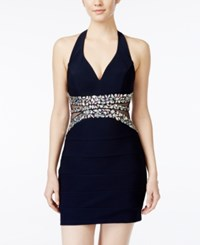 Crystal Doll Juniors' Jeweled Illusion Bodycon Halter Dress Blue