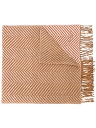 Mulberry Herringbone Fringed Scarf Brown