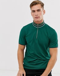 Selected Homme Knitted Polo Shirt With Contrast Placket And Collar Green