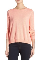 Women's Ivanka Trump Button Back Inset Sweater Heather Apricot