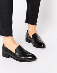 Park Lane Toecap Slip On Leather Flat Shoes Black