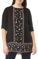 Evans Plus Size Women's Embroidered Tunic Black