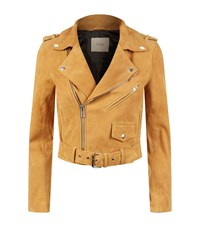 Maje Beril Suede Biker Jacket Female Brown