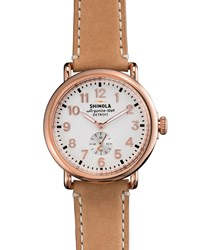The Runwell Rose Golden Watch With Taupe Strap 41Mm Shinola