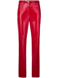 Alberta Ferretti Slim Fit Faux Leather Trousers Red