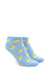 Forever 21 Duck Print Ankle Socks Blue Multi