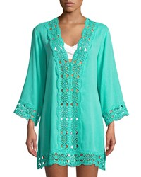 Lablanca Embroidered Inset Tunic Coverup Green