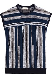 Tory Burch Knitted Cotton And Linen Blend Top Multi