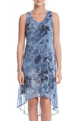 Women's Karen Kane 'Indigo Floral' V Neck High Low Sleeveless Dress