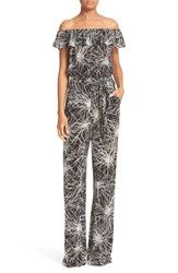 Diane Von Furstenberg Women's Adele Print Ruffle Off The Shoulder Jumpsuit