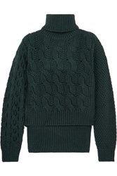 Maison Martin Margiela Mm6 Cable Knit Wool Blend Sweater Forest Green
