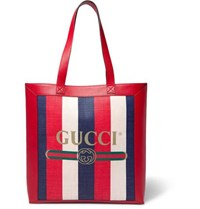 Gucci Leather Trimmed Logo Print Striped Canvas Tote Bag Red