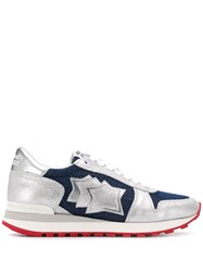 Atlantic Stars Denim Star Patch Sneakers Silver