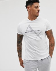 Armani Exchange Large Text Logo T Shirt In White