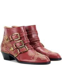 Chloe Susanna Studded Leather Ankle Boots Red