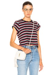 Re Done Stripe Boxy Tee In Blue Red Stripes Blue Red Stripes