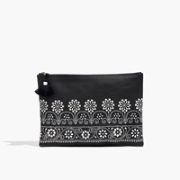Madewell Large Zip Pouch Antique Cream Black Sea