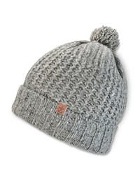 Bickley And Mitchell Knitted Turncuff Pom Pom Beanie Grey